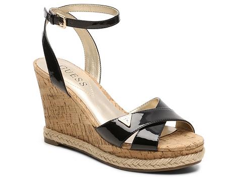 Incaltaminte Femei GUESS Madolyn Patent Wedge Sandal Black