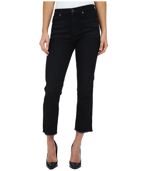 Imbracaminte Femei 7 For All Mankind Cropped High Waist Vintage Straight w Raw Hem in Slim Illusion Rich Noir Slim Illusion Rich Noir