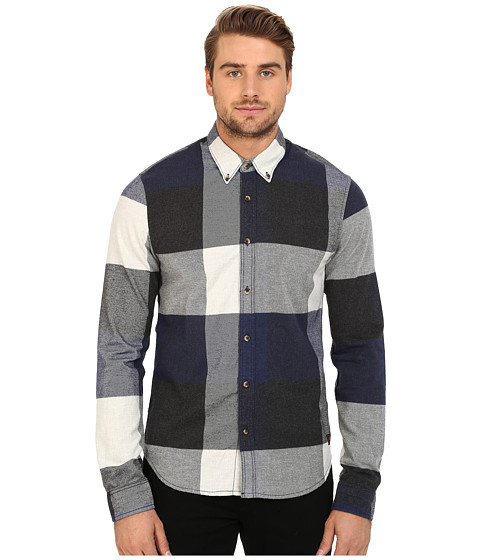 Imbracaminte Barbati Scotch Soda Long Sleeve Shirt in Block Check NavyBlackWhite