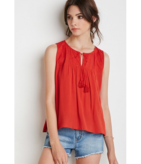 Imbracaminte Femei Forever21 Southwestern Pattern Embroidered Top Rust