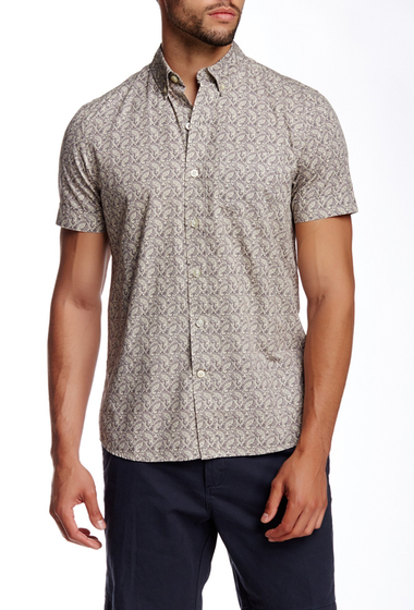Imbracaminte Barbati Kennington Paisley Print Woven Short Sleeve Slim Fit Shirt STEEL
