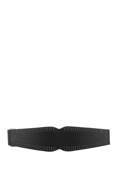 Accesorii Femei Betsey Johnson Wide Embossed Stretch Belt BLACK