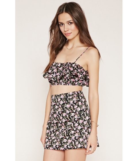 Imbracaminte Femei Forever21 Flounced Floral Cropped Cami Blackpink