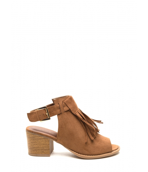 Incaltaminte Femei CheapChic Fringed Fate Faux Suede Booties Camel