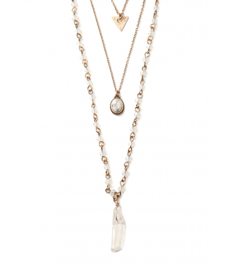 Bijuterii Femei Forever21 Faux Crystal Layered Necklace Antique gold