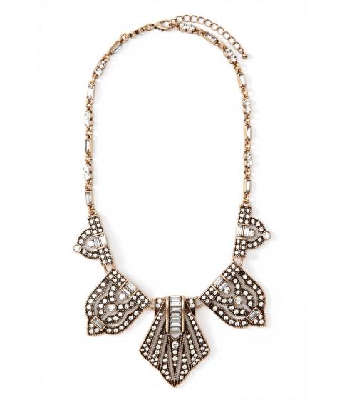 Bijuterii Femei Forever21 Rhinestoned Pendant Statement Necklace Antique goldclear