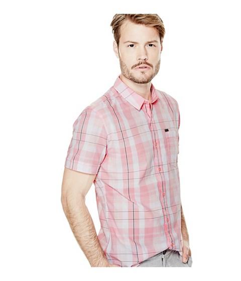 Imbracaminte Barbati GUESS Hearth Short-Sleeve Plaid Shirt black rinse wsilver