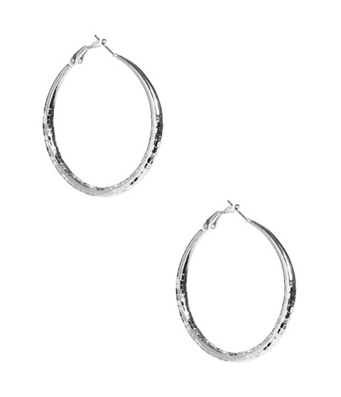 Bijuterii Femei GUESS Silver-Tone Medium Textured Hoops silver