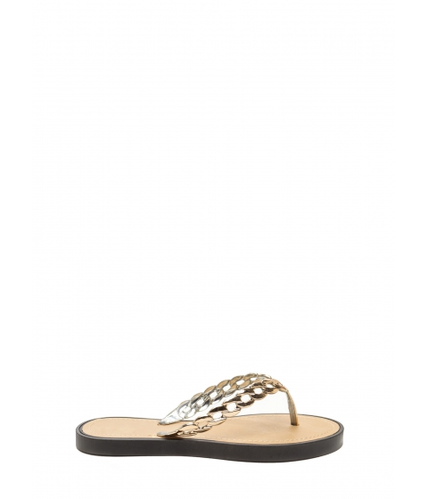 Incaltaminte Femei CheapChic Chain Together Jelly Thong Sandals Black