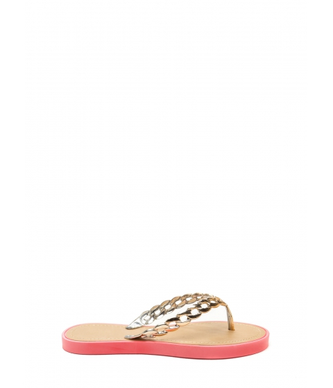 Incaltaminte Femei CheapChic Chain Together Jelly Thong Sandals Coral