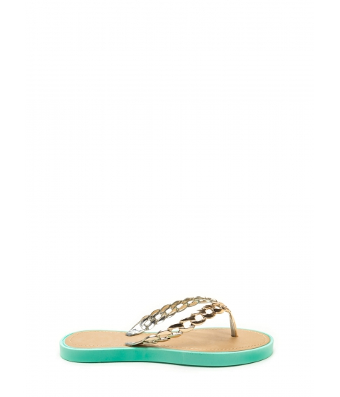 Incaltaminte Femei CheapChic Chain Together Jelly Thong Sandals Mint