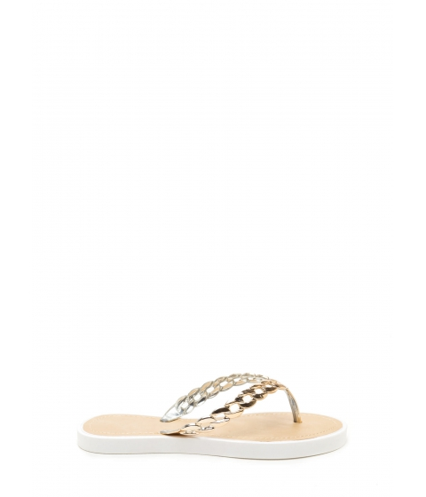 Incaltaminte Femei CheapChic Chain Together Jelly Thong Sandals White