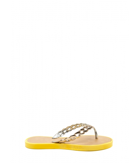 Incaltaminte Femei CheapChic Chain Together Jelly Thong Sandals Yellow