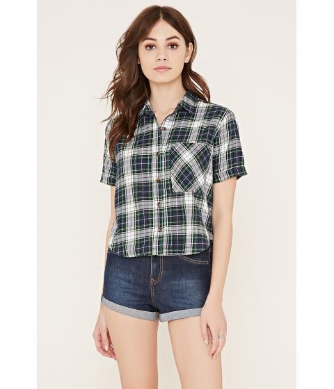 Imbracaminte Femei Forever21 Tartan Plaid Pocket Shirt Greencream