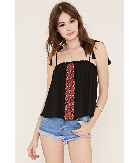 Imbracaminte Femei Forever21 Embroidered Self-Tie Cami Blackred