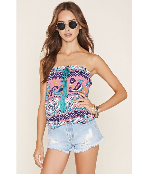 Imbracaminte Femei Forever21 Abstract Print Tube Top Whitepink