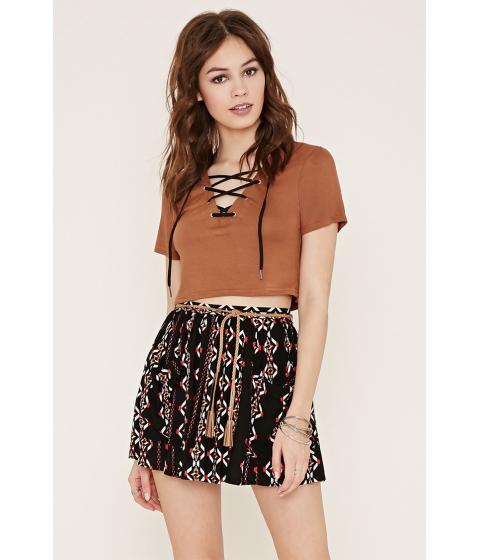 Imbracaminte Femei Forever21 Belted Geo Print Skirt Blackcream