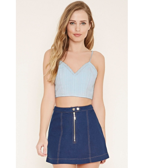 Imbracaminte Femei Forever21 Crochet-Trim Cropped Cami Light blue
