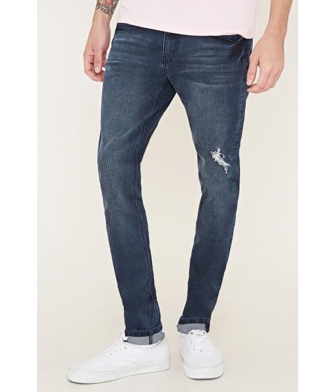 Imbracaminte Barbati Forever21 Distressed Slim-Fit Jeans Dark denim