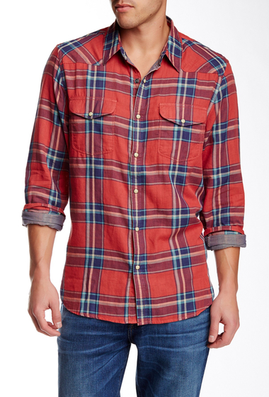 Imbracaminte Barbati Lucky Brand Santa Fe Plaid Long Sleeve Regular Fit Western Shirt RED-BLUE