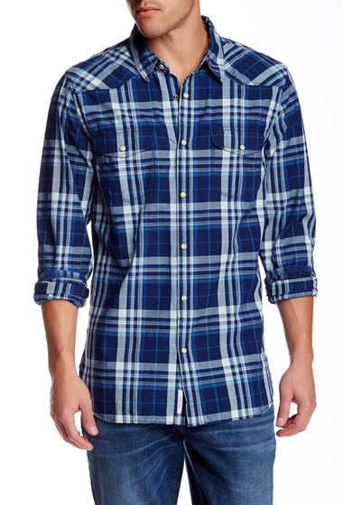 Imbracaminte Barbati Lucky Brand Santa Fe Plaid Long Sleeve Western Regular Fit Shirt INDIGO PLA