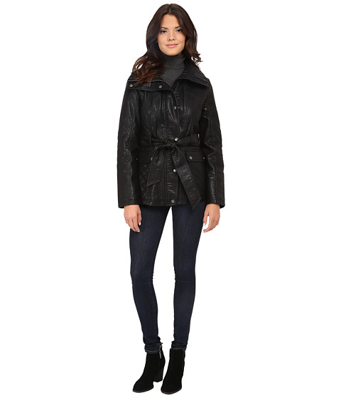 Imbracaminte Femei Jessica Simpson Faux Leather Zip Front and Snap Quilt Belted Jacket Black
