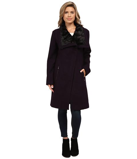 Imbracaminte Femei Jessica Simpson Wool Coat with Faux Fur Collar Amethyst