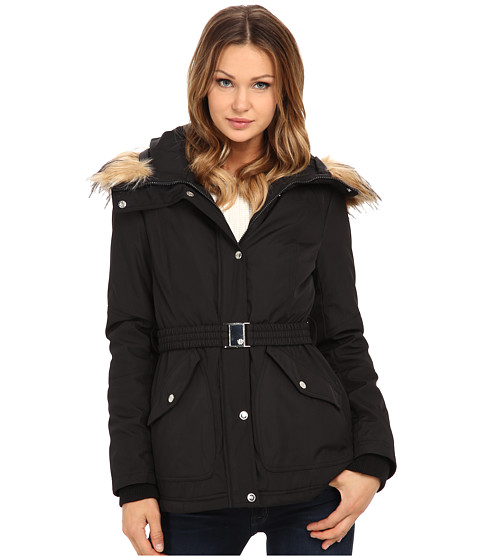 Imbracaminte Femei Jessica Simpson Belted Polybonded with Faux Fur Black