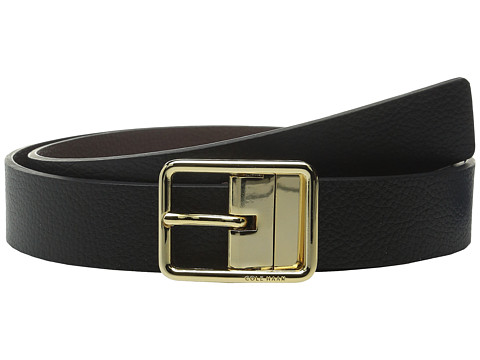 Accesorii Femei Cole Haan 14quot Reversible Pebble Leather Belt with Centerbar Buckle BlackChestnut