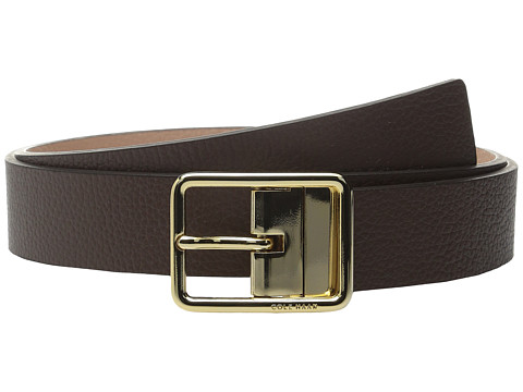 Accesorii Femei Cole Haan 14quot Reversible Pebble Leather Belt with Centerbar Buckle ChestnutMaple Sugar