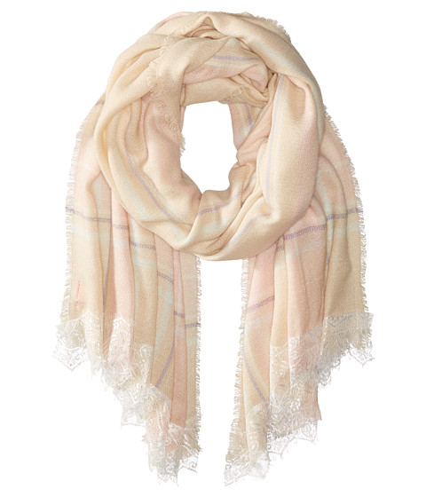 Accesorii Femei Betsey Johnson Lace Trim Plaid Blanket Wrap Pastels