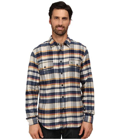 Imbracaminte Barbati Lacoste Long Sleeve Check Flannel Woven Shirt with Nylon Trim at Neckline Trade Wind BlueNavy BluePulp