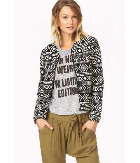Imbracaminte Femei Forever21 Worldly Tribal Pattern Jacket Blackcream