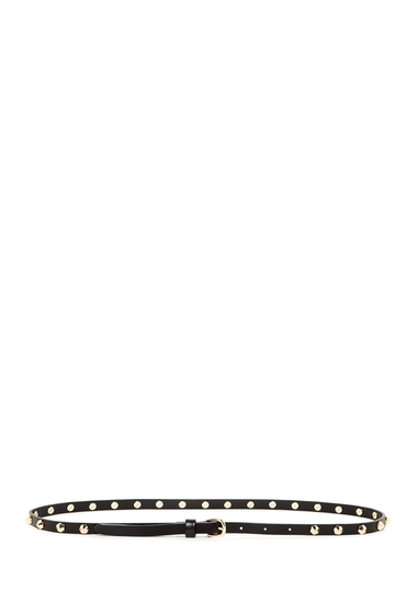 Accesorii Femei Linea Pelle Leather Hex Cone Stud Skinny Belt BLACK