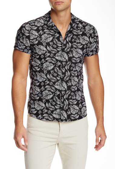 Imbracaminte Barbati The Kooples Woven Short Sleeve Fitted Shirt BLACK-WHITE