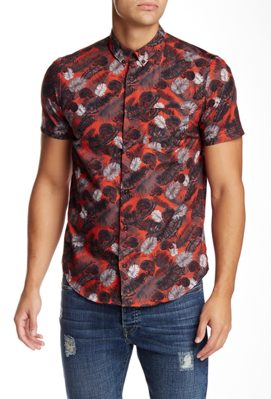 Imbracaminte Barbati The Kooples Printed Short Sleeve Fitted Shirt RED-BLACK