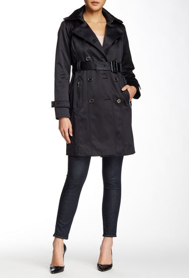 Imbracaminte Femei London Fog Water Repellent Double Breasted Trench Coat Petite BLACK