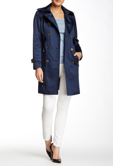 Imbracaminte Femei London Fog Water Repellent Double Breasted Trench Coat Petite NAVY