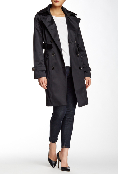 Imbracaminte Femei London Fog Water Repellent Double Breasted Trench Coat BLACK