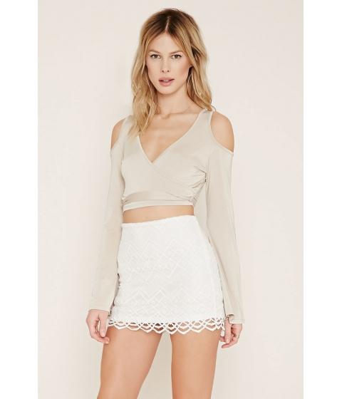 Imbracaminte Femei Forever21 Chevron-Patterned Mini Skirt Cream