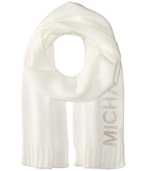 Accesorii Femei Michael Kors Heat Seal Studded Logo Scarf CreamPolished Gold