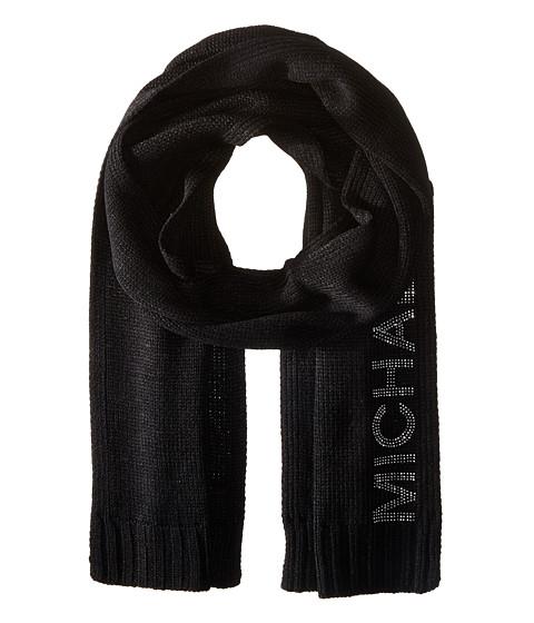 Accesorii Femei Michael Kors Heat Seal Studded Logo Scarf BlackPolished Nickel
