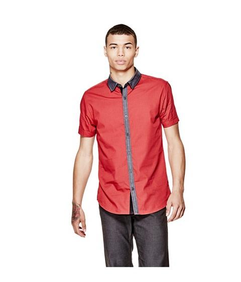 Imbracaminte Barbati GUESS Judkins Short-Sleeve Printed Shirt red hot