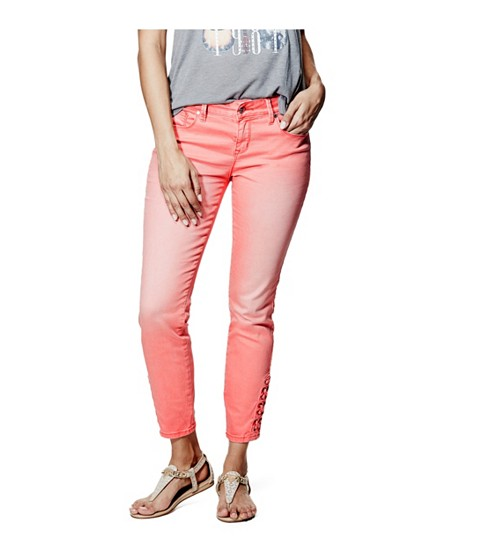Imbracaminte Femei GUESS Fianna Lace-Up Ankle Jeans in Hot Coral Wash hot coral