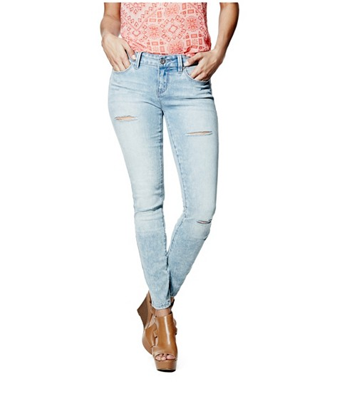 Imbracaminte Femei GUESS Sienna Curvy Skinny Jeans in Light Destroy Wash light destroy wash