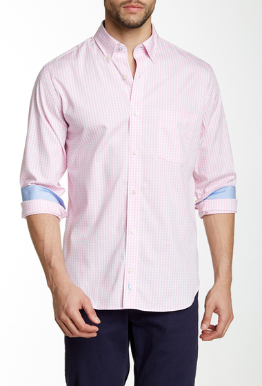 Imbracaminte Barbati TailorByrd Long Sleeve Woven Classic Fit Gingham Shirt PINK