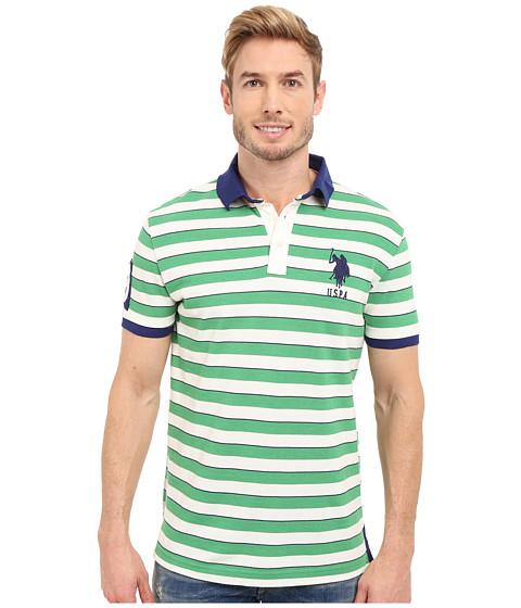 Imbracaminte Barbati US Polo Assn Slim Fit Shadow Stripe Polo Shirt Grass Heather