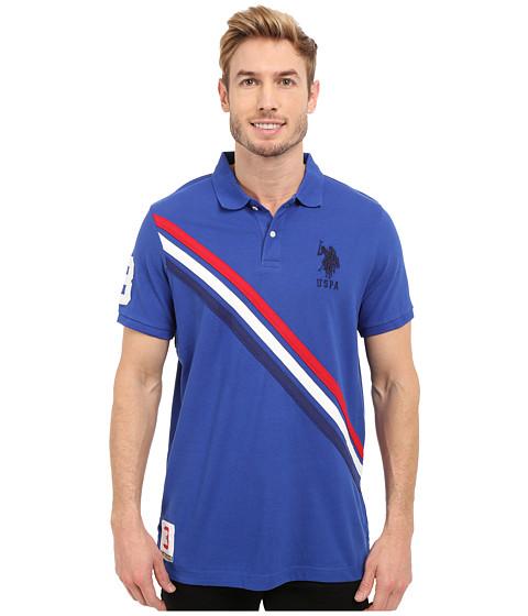 Imbracaminte Barbati US Polo Assn Tri-Color Diagonal Stripe Pique Polo Shirt Blue Raft