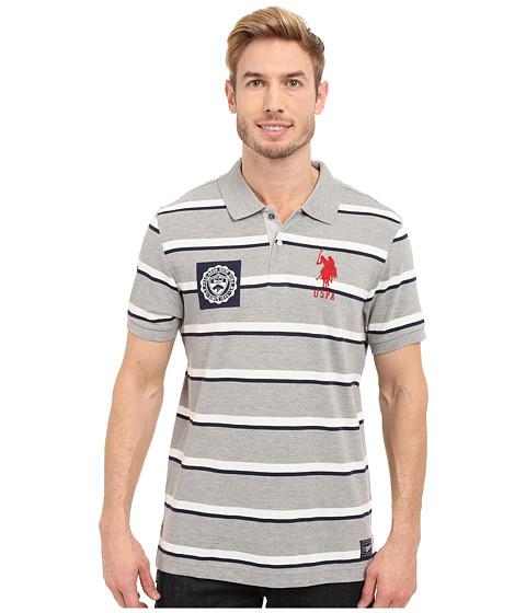 Imbracaminte Barbati US Polo Assn Sporty Tri-Stripe Pique Polo Shirt Heather Grey