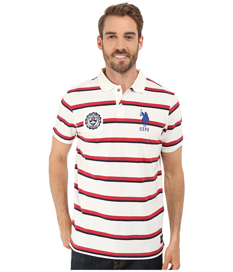 Imbracaminte Barbati US Polo Assn Sporty Tri-Stripe Pique Polo Shirt White Winter